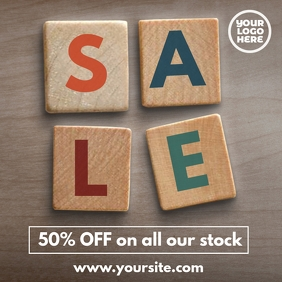 50% sale Wooden Blocks Sale Post Template