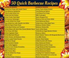 50 Quick Barbecue Recipes List Template Large Rectangle