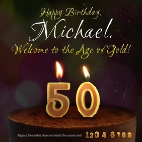 50 years old birthday cake candle animation