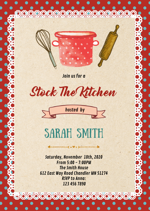 50s housewife shower party invitation A6 template
