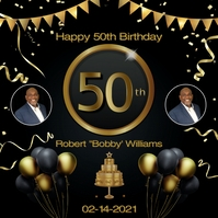 50th Birthday Black Gold Flyer Template Album Omslag