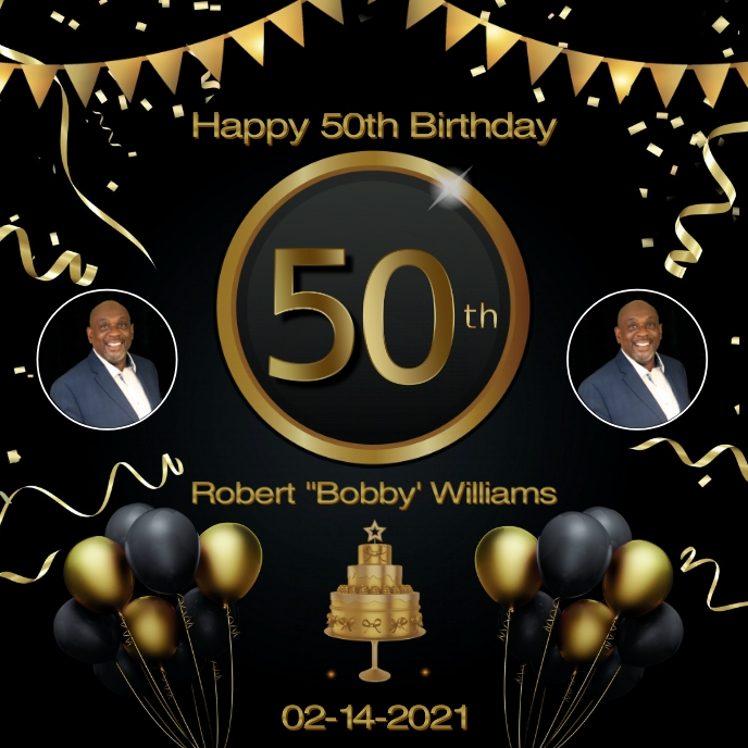 50th Birthday Black Gold Flyer Template Album Cover