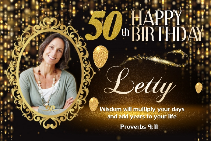 50th Birthday Cartel de 4 × 6 pulg. template