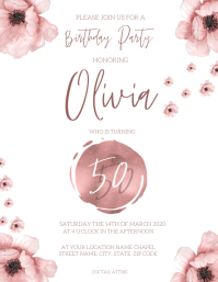 50th Birthday Invitation Template Flyer (US Letter)