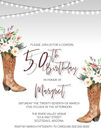 50th Birthday Invitation Template ใบปลิว (US Letter)
