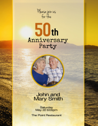50th Gold wedding anniversary party invitation flyer