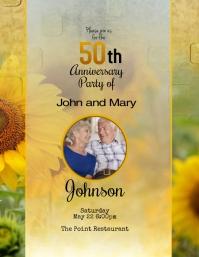 50th wedding anniversary invitation Sunflower Pamflet (VSA Brief) template