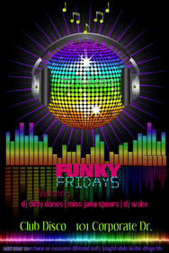 Disco Ball Rainbow Event Night Club Bar DJ Band Music Radio Flyer