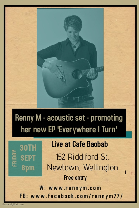 Cafe Boabab, Wellington 21/9/16 Poster template