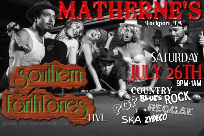 Vintage Billiard Pool Retro Hall Black White Antique Venue Club Band Dj Bar Event Flyer