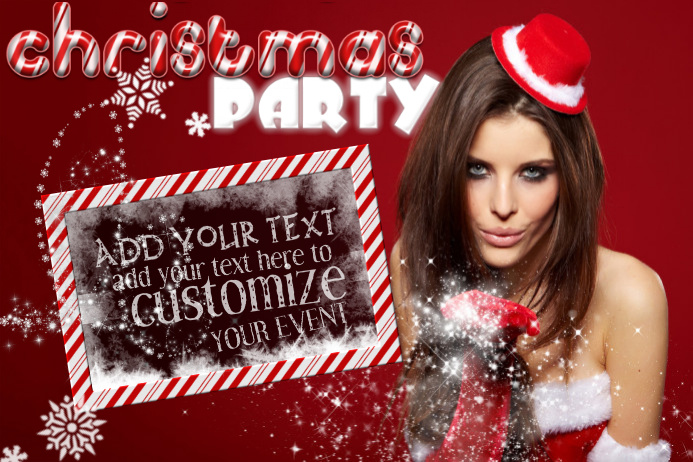 Christmas Holidays Seasons Greeting Ad X-Mas Party Santa Suit Snow Winter Event Girl Flyer Poster