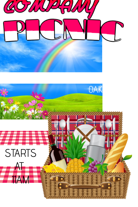 Company Picnic Outdoors Food Rainbow Festival Family Reunion Park Summer Event Poster