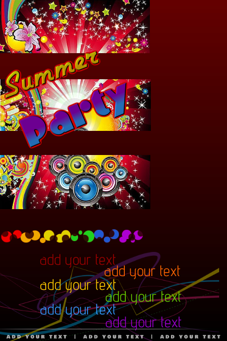 DJ Club Summer Rainbow Stars Lights Night Venue Party Event Night Flyer Poster