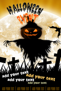 Halloween October Fall Scarecrow Event Poster
