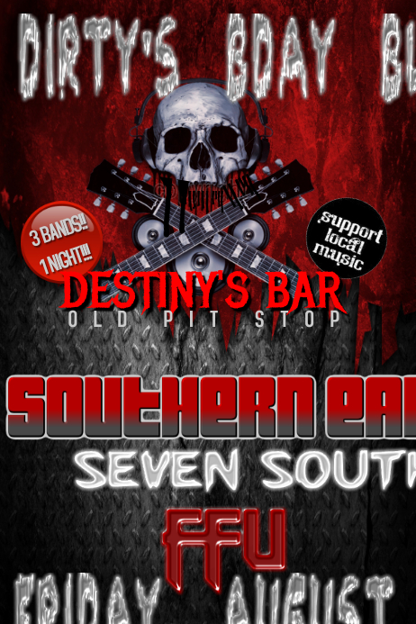 Rock Skull Guitar Live Music Band Flyer
