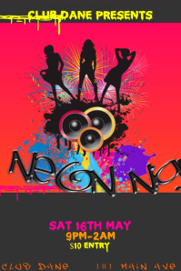 Club Event Venue DJ Neon Bar Paint Party Grunge Colorful Dance Music Night Poster Flyer