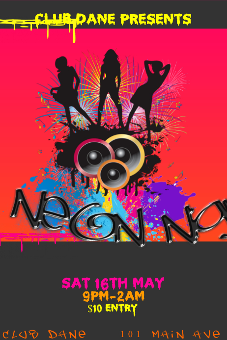 Club Event Venue DJ Neon Bar Paint Party Grunge Colorful Dance Music Night Poster Flyer template