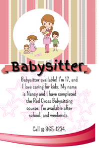 Customizable Design Templates for Babysitting Flyer | PosterMyWall