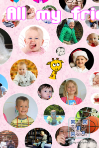 Facebook photos collage for kids - Pink