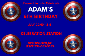 Captain America Birthday Invitation 2