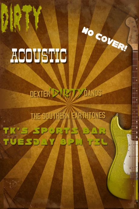 Grunge Green Brown Guitar Retro Stripes Burst Music Bar Band Acoustic Concert Flyer Poster