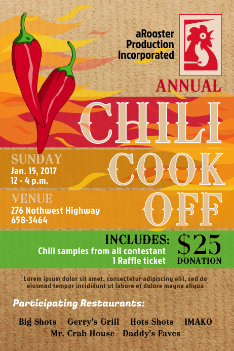 chili cook off poster template postermywall. Black Bedroom Furniture Sets. Home Design Ideas