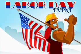 Labor Day Weekend Holiday AMERICAN FLAG WORKING MAN Flyer