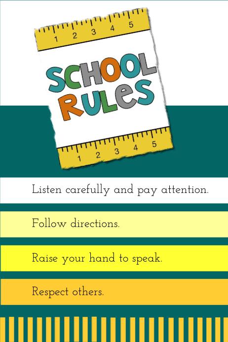 School rules Cartaz template