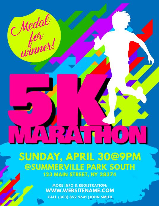 5k marathon flyers template postermywall