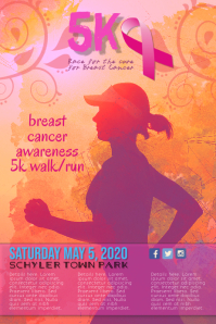 Breast Cancer Awareness 5k Run Walk Flyer Template