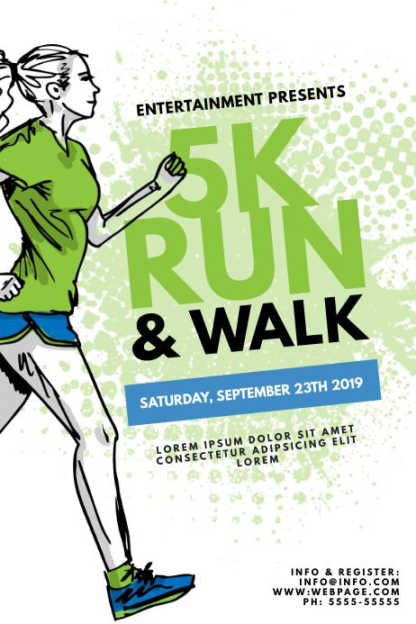 5k run walk color run flyer template postermywall - New home design center checklist ...