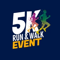 5K Run & Walk Event Logo template