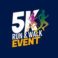 5K Run & Walk Event Logo template