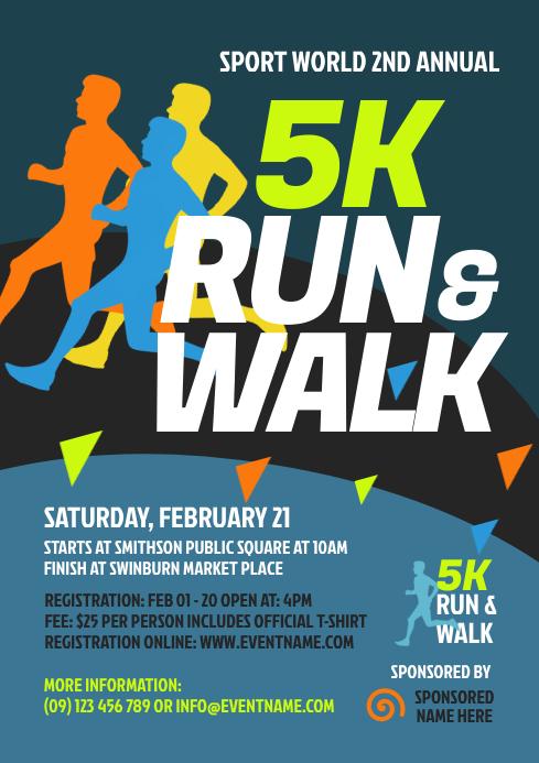 5K Run & Walk Flyer Template A4