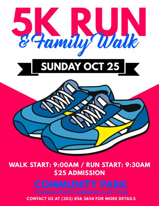 5k run family walk flyer template postermywall