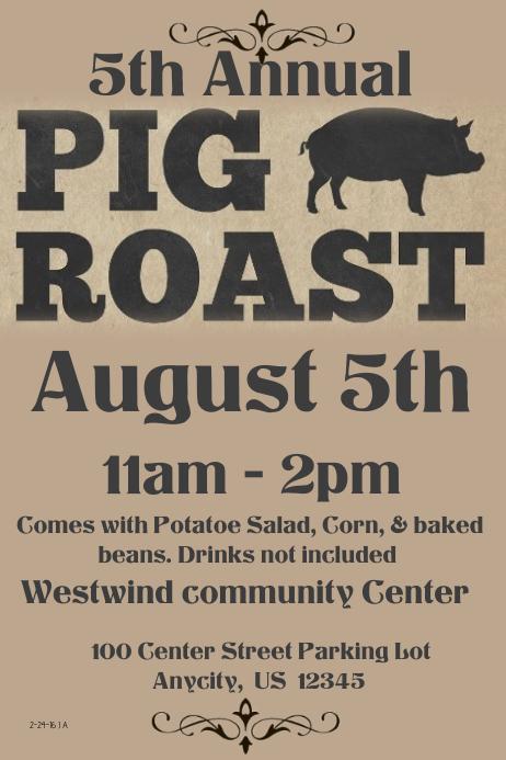 5th Annual Hog Roast Template Postermywall
