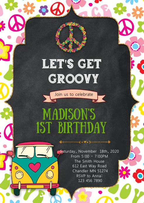 60s Groovy birthday invitation