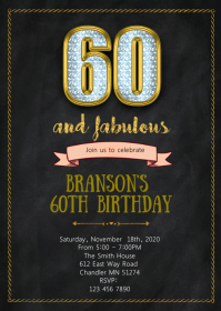 60th and Fabulous birthday party invitation