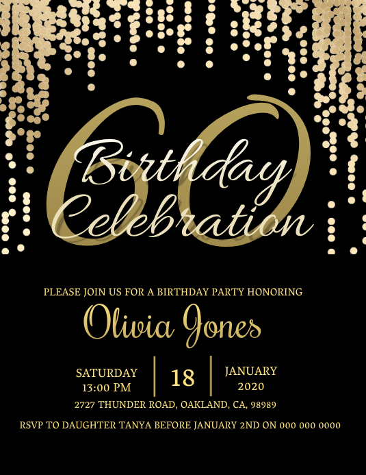 60th Birthday invitation Template