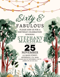 60th Birthday Party Invitation Flyer Template