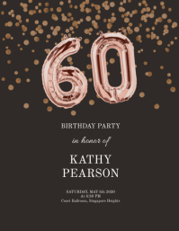 60th birthday sequins gold and black flyer
