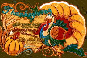 Thanksgiving Retro Turkey Event Autumn Fall Flyer