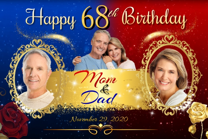68th Birthday Banner 4' × 6' template