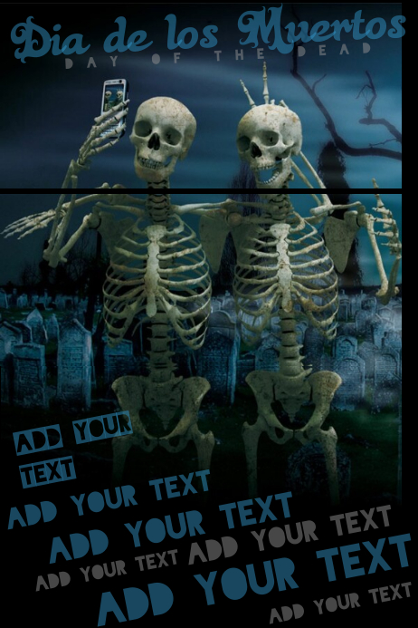 Dia De Los Muertos Halloween Day Of The Dead Skeleton Selfie Graveyard Flyer