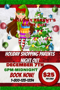 Parents Night Out Holiday Shopping Event Template Cartaz