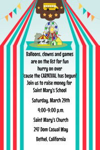 Carnival School Kids Fundraiser Flyer Poster Invitation Announcement