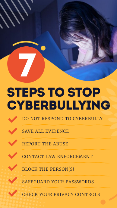 7 Steps to stop Cyberbullying Infographic Instagram Story template