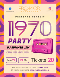70's Party Invitation Flyer Volantino (US Letter) template