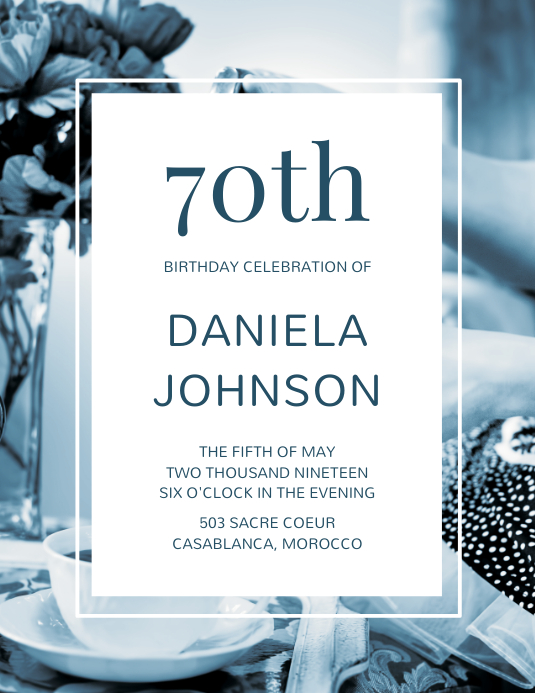 70th Birthday Flyer Template Pamflet (Letter AS)