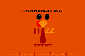 Turkey Thanksgiving Holiday Dining School Dinner Event Flyer